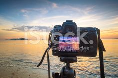 DSLR camera at  the beach scenery royalty-free stock photo