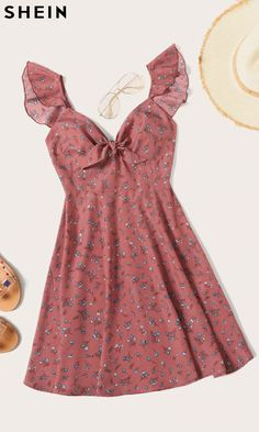 Plus Ruffle Trim Knot Front Ditsy Floral Dress Plus Ruffle Trim Knot Ditsy Blumenkleid - GaGodeal Dresses Elegant, Pretty Dresses, Casual Dresses, Dresses Dresses, Wedding Dresses, Casual Outfits, Awesome Dresses, Dresses Online, Beautiful Dresses