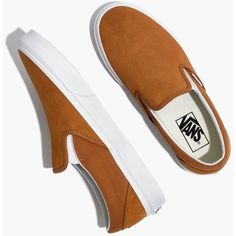 MADEWELL Vans® Unisex Classic Slip-On Sneakers in Medal Bronze Suede ($55) ❤ liked on Polyvore featuring shoes, sneakers, slip-on shoes, suede trainers, slip-on sneakers, unisex shoes and slip on trainers