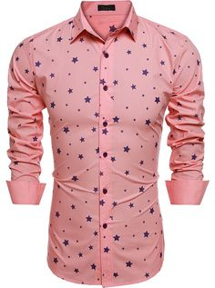 Buy Mens Fashion Slim Fit Turn Down Collar Long Sleeve Star Print Casual Shirts - Pink - and Find More From Our Large Selection of Men's Shirts With Big Discount. Cool Shirts For Men, Casual Shirts For Men, Men Casual, Men Shirts, Casual Clothes, Casual Outfits, Mens Indian Wear, Stylish Mens Fashion, Style Fashion
