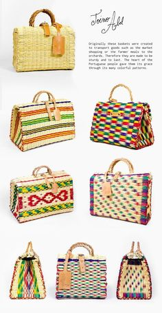Toino Abel Toino Abel was started by Nuno Henriques with the aim to preserve the tradition of Portuguese reed basket weaving. Nuno's great-grandfather José began his basket-weaving business in the small… My Bags, Purses And Bags, Hippie Chic, Basket Bag, Inka, Summer Bags, Beautiful Bags, Fashion Bags, Straw Bag
