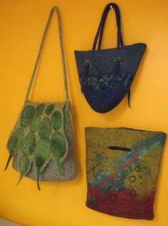 felted bags with 3d elements. New England Felting