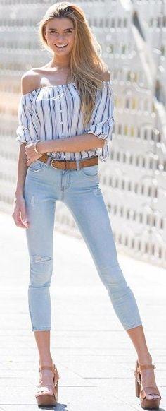 #summer #lovely #fashion |  Striped Off The Shoulder Top + Denim