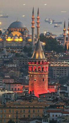 A gorgeous city with its Galata Tower and Sultan Ahmet Mosque Istanbul, Turkey Hagia Sophia, Beautiful Mosques, Beautiful Places, Istanbul Travel Guide, Visit Turkey, Istanbul City, Blue Mosque, Grand Bazaar, Turkey Travel