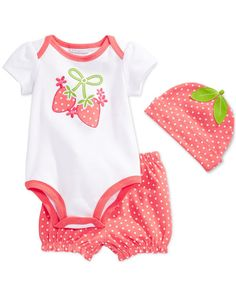 First Impressions Baby Girls' 3-Piece Strawberry Bodysuit, Shorts & Hat Set, Only at Macy's
