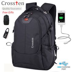 Crossten Swiss Army Multifunctional USB Cable Laptop Bag 16 Laptop Backpack  Versatile schoolbag Travel Bag Rucksack with gifts a3fa7ae7ad6cb