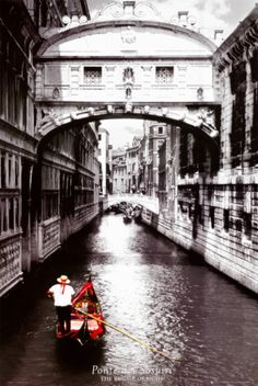 "Bridge of Sighs, Venice. If a couple kisses under the bridge while drifting below on a gondola at sunset, they will enjoy eternal love. Thus, the ""sighs"" are said to come from lovers who are overwhelmed by the romance of the whole scene. <3"