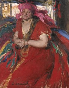 Peasant Woman in a Red Dress - Abram Arkhipov