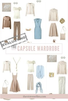 How to Evaluate a capsule wardrobe in a beige, ivory, and soft blue color palette