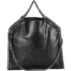 Stella McCartney Women's Falabella Shaggy Deer Foldover Tote ($1,280) ❤ liked on Polyvore featuring bags, handbags, tote bags, totes, black, stella mccartney tote, chain strap purse, fold over purse, handbags totes and logo tote bags