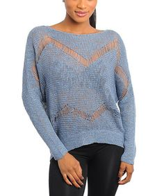 Take a look at this Blue Open-Knit Sweater by Buy in America on #zulily today!