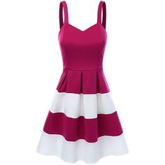 SJSP Women Strap Sleeveless Wide Stripe A-Line Dress (75 BRL) ❤ liked on Polyvore featuring dresses, vestidos, short dresses, sleeveless a line dress, purple a line dress, a line mini dress and short purple dresses