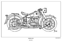 Motorcycle sketch - BMW R51, 1938 - Original Ink Drawing Fine Edition Print - Paper size A4: aprox. 8.3 x 11.7 in. (21 x 29.7 cm). $25.00, via Etsy.