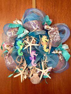 Beach perler deco mesh wreath