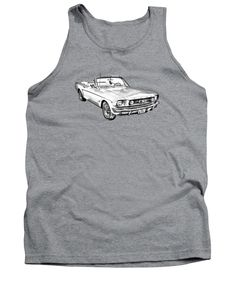 1965 Ford Mustang Classic Car Illustration on Tank Top many sizes, colors and styles to choose from. 100% Satisfaction Guarantee.