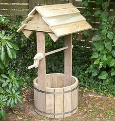 Woodworking plans for a wooden wishing well. There are 14 pages in the downloadable file, consisting of plans, drawings, photos, and step-by-step instructions. Great fun to build. The well stands 1400mm (4-8) high and is 600mm (2ft) wide. The cutting list in the downloadable file gives a drawing of every different piece of wood along with the dimensions. In total you will need: # 12 meters (40ft) of 100mm x 25mm (1x4) board; # 5 meters (17ft) of 150mm x 25mm (1x6) board; # 1 meter (39) of…