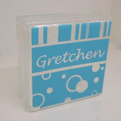 Polka Dot Personalized Acrylic Block  Girls Room Decor by LEVinyl, $28.00