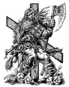 the rune of Necessity. High Fantasy, Fantasy Art, Viking Warrior Tattoos, Viking Tattoo Sleeve, Dragon Warrior, Pretty Halloween, Game Of Thrones Art, Scary Art, Viking Art