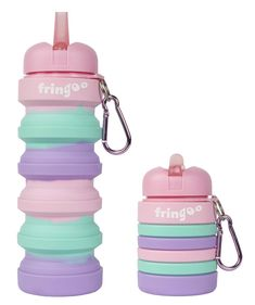 Fringoo Silicone Collapsible Drink Bottle For Kids 500 ml / 17 oz with Carabiner Clip Leak Proof BPA Free Travel Sports Drink Bottle (Pastel Pink - Blue, 550 ml - 19 oz) Pastel Pink, Pink Purple, Pastel Colours, Lunchbox Design, School Water Bottles, Unicorn Water Bottle, Collapsible Water Bottle, Sports Drink, Use Of Plastic