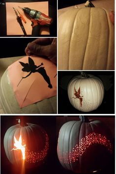 Any excuse to use one of my drills. Tinkbell Fairy Dust Jack O Lantern Pumpkin Carving Idea Disney Peter Pan