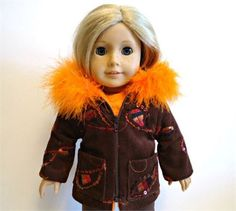 This corduroy parka is made to fit the 18 inch girl doll. It is brown with sequins and orange, black and gold embroidery with a soft orange lining. The hood has an orange boa trim that is sewn on by hand, with the ends embedded into the coat.  It features two front pockets and a zip up front.  All seams are professionally finished.  *As always, I give a shipping discount on multiple listing purchases. Handmade by me in my pet free and smoke free studio, within my smoke free home…