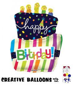 19469-36 Happy Birthday Cake Shaped Foil Balloons - Creative Balloons Mfg. Inc