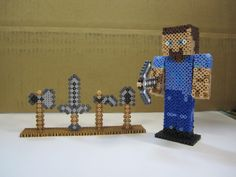 Minecraft Steve with all weapons 3D _Perler Beads