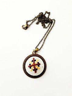 Colier cu broderie manuală Pendant Necklace, Handmade, Jewelry, Fashion, Embroidery, Moda, Hand Made, Jewlery, Jewerly