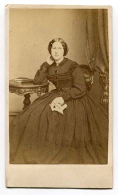 YOUNG WOMAN BOOKS ON TABLE AUGUSTUS MORAND BROOKLYN NY VINTAGE CDV LOOK!