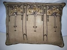 Arts and Crafts Movement Embroidered Pillow