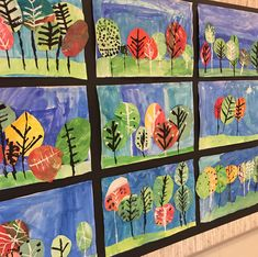 Finished printed paper landscape collages on displayed! 1st grade did a fantastic job!!