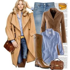 Business casual outfit: trench, blue button up, skinny jeans & brown boots.