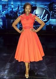 Unathi an RSA Idol judge looking amazing in this dress, love the colour as well. African Attire, African Wear, African Dress, South African Fashion, African Inspired Fashion, Diva Fashion, Fashion Outfits, Elegant Summer Dresses, African Shop