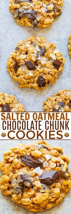 Salted Oatmeal Chocolate Chunk Cookies – Soft, chewy, loaded with chocolate, and the flaky sea salt adds the PERFECT touch! If you're an oatmeal cookie fan, these will become your new FAVORITES and they're so EASY to make! Best Dessert Recipes, Fun Desserts, Sweet Recipes, Dinner Recipes, Brownie Recipes, Chocolate Recipes, Cookie Recipes, Homemade Oatmeal Cookies, Fast Easy Meals