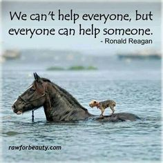 """We can't help everyone, but everyone can help someone"" - Ronald Reagan #wisdom #billionhearts"