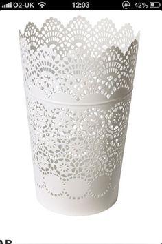 Skurar Ikea Cream Bucket Pot Vintage Candle Holder