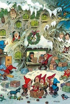 Made in Germany << Fritz Baumgarten - Advent calendar love German… Antique Christmas Ornaments, Vintage Christmas Cards, Retro Christmas, Vintage Holiday, Illustration Noel, Christmas Illustration, Christmas Past, Christmas Pictures, German Christmas