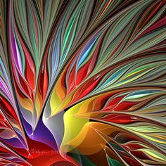 Here is another version of the fractal Bird of Paradise using the the espiral spherical variations. Fractal Bird of Paradise 2 Art Fractal, Fractal Design, Psy Art, Sacred Geometry, Rainbow Colors, Art Images, Glass Art, Abstract Art, Abstract Paintings