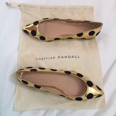Loeffler Randall// Quinnie flats Loeffler Randall// Quinnie flats. Gold with black dots. Size 7 1/2. Sadly never worn out of my house. Like new. Loeffler Randall Shoes Flats & Loafers