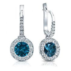 Certified Platinum (White) Dangle Studs Halo Round Blue Diamond Earrings 3.00 ct. tw. (Blue, I1-I2)