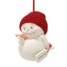 Snow Pinions Collection by Kristi Jensen Pierro--Snowmen with attitude! Snow Pinions. Porcelain bisque ornaments and figures don hand-knit hats, earmuffs and scarves. Each delivers funny and sweet heartfelt sentiments to family and friends. Designed by Snowbabies artist Kristi Jensen Pierro.