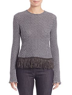 Derek Lam - Crochet Tweed Fringe-Trim Top