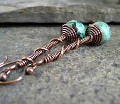 Oxidized Copper Earrings, copper beaded earrings, wire jewelry,. £17.00, via Etsy.