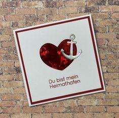 Ich mag die Stanzintarsien ja eh sehr gerne - hier als Technique #8a Stanz-Intarsien für Fortgeschrittene. Das Kärtchen ist im Format 10,5 x 10,5 cm angelegt. Verwendet: Karten-Kunst Clear Stamps KK-0195 - Riesige Wünsche Ahoi, Karten-Kunst Stanzschablone kk-D081 - Round Hearts, Karten-Kunst Stanzschablone kk-D087 - Anchors / Anker