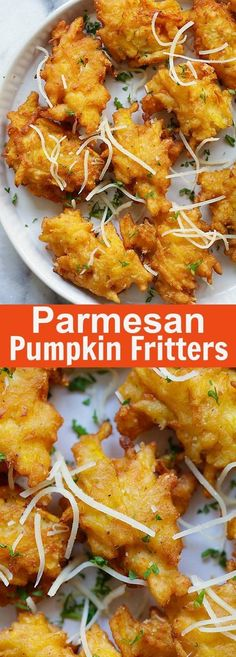 Crazy delicious pumpkin fritters recipe with Parmesan cheese. Easy, fail-proof a… Crazy delicious pumpkin fritters recipe with Parmesan cheese. Pumpkin Fritters, Squash Fritters, Fingers Food, Recipes With Parmesan Cheese, Savory Pumpkin Recipes, Vegan Pumpkin, Pumpkin Chili, Pumpkin Pumpkin, Healthy Pumpkin
