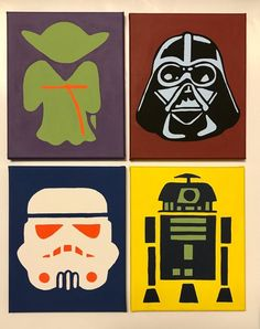 Star Wars Canvas Paintings - Star Wars Family - Ideas of Star Wars Family - Star Wars Pop Art, Star Wars Kids, Easy Canvas Painting, Canvas Paintings, Star Wars Art Projects For Kids, Cuadros Star Wars, Star Wars Painting, Star Wars Crafts, Pinturas Disney