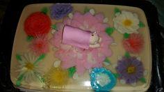 Gelatina artistica baby girl in top of flower baby shower 3D gelatin chicago, il