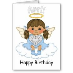 April Birthstone Angel Brunette Birthday Card from Zazzle.