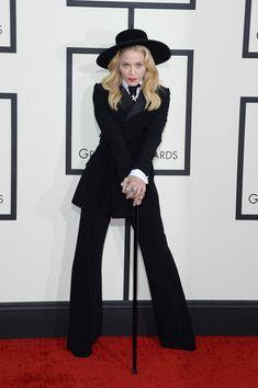 Madonna Pantsuit - Madonna hit the Grammys red carpet wearing a black Ralph Lauren tuxedo.
