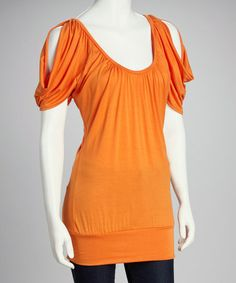 Take a look at this Nicky-V Orange Cutout Top - Women & Plus by GLAM on #zulily today!